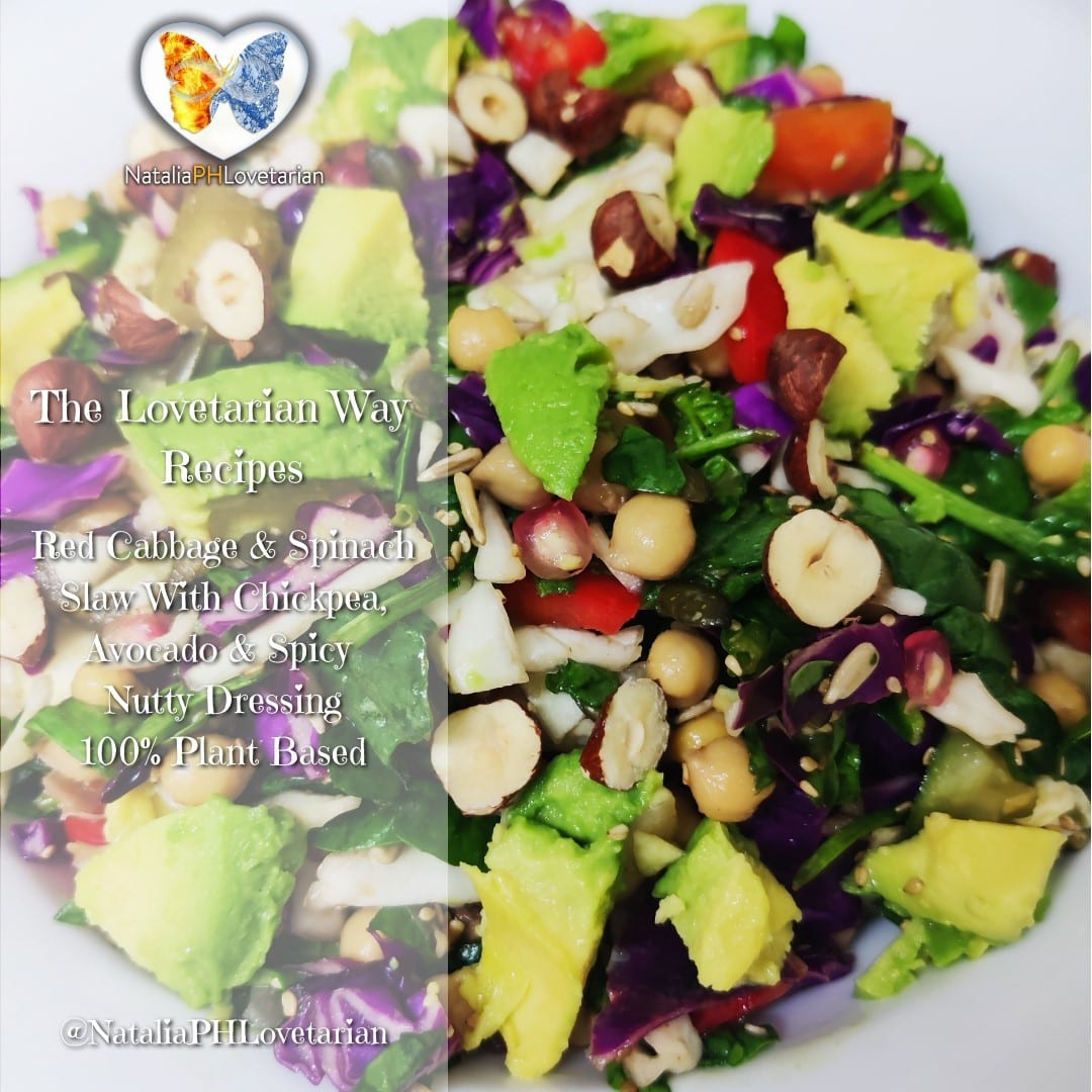 Red Cabbage & Spinach Slaw With Beans, Avocado & Spicy, Nutty Dressing