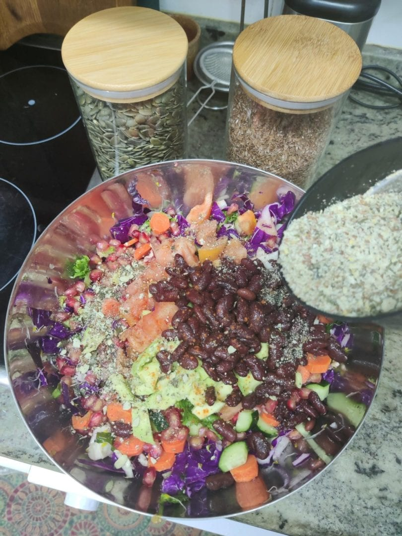 Red Cabbage & Spinach Slaw preparation